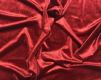 Brick Red - Stretch Polyester Velvet Fabric