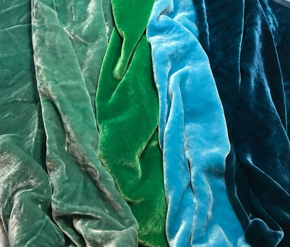 "Pastels Colors Sample Set Hand Dyed Silk Velvet Fabric 9/""x22/"" Each"