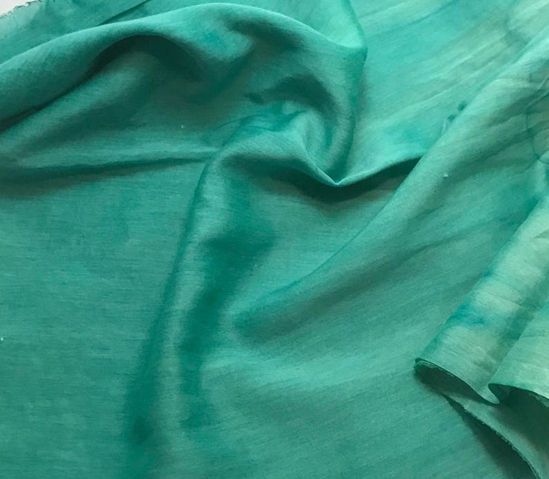 Silk//Cotton Voile Batiste Fabric Hand Dyed ECRU 1//3 yd remnant