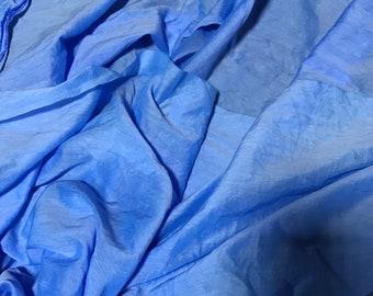Hand Dyed Cornflower Blue - Silk/Cotton Voile Fabric - 1/3 Yard