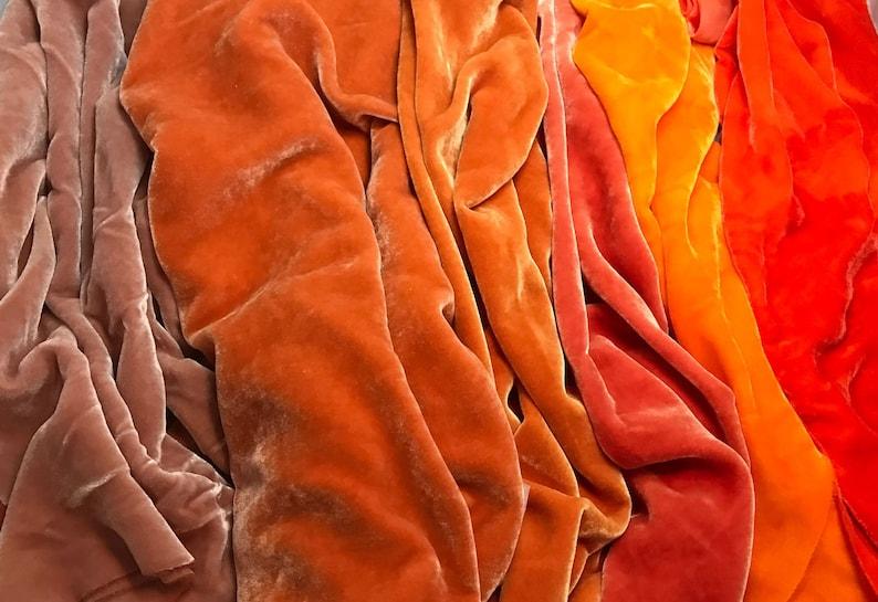 Hand Dyed Silk Velvet Fabric 9x22 Each Big Orange Sample Set