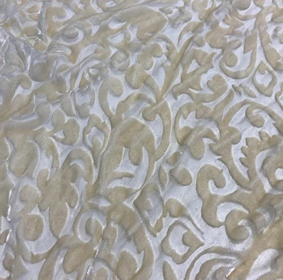 By The Yard Silver Gold On Black Chiffon Designer Rayon Burnout Velvet Fabric