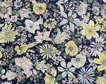 Yellow Blooms on Navy Floral - Memoire A Paris - Lecien Japan Cotton Fabric