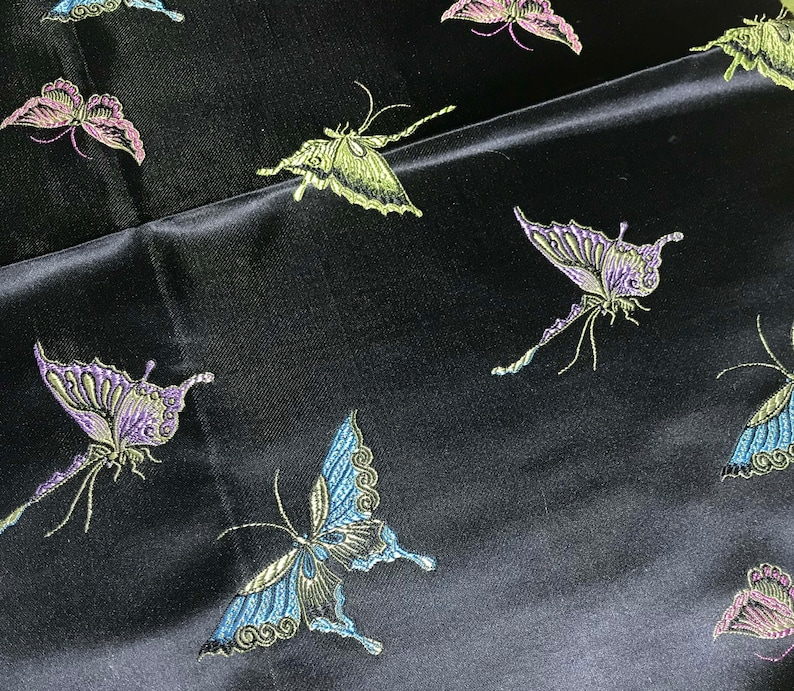 Faux Silk Brocade Fabric 12 Yard Black with Butterflies Remnant Sale