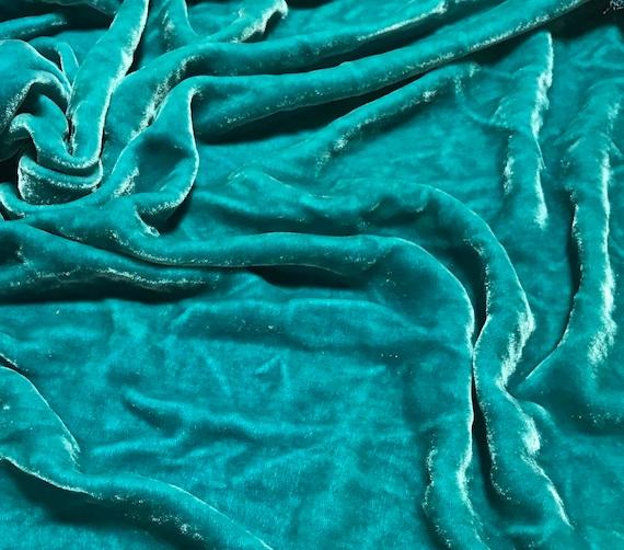 Hand Dyed PEACOCK TEAL Silk VELVET Fabric
