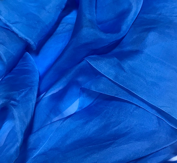 Sheer Soft Silk ORGANZA Fabric Hand Dyed CORNFLOWER BLUE 1//3 yard remnant