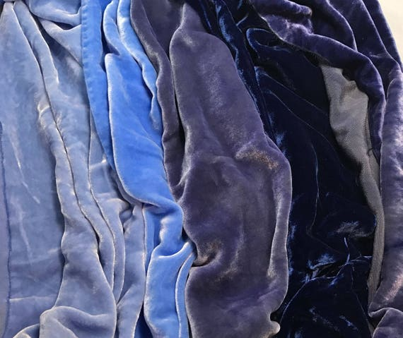 "9/""x22/"" Each Dark Purple Sample Set Hand Dyed Silk Velvet Fabric"