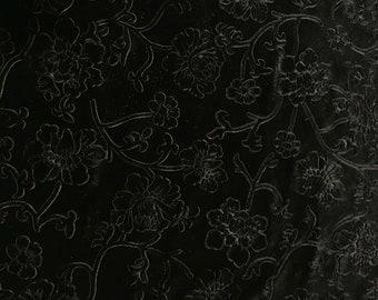 Black Flower Branches - Embossed Stretch Poly Velvet Fabric