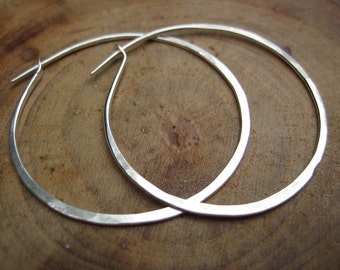 Handmade Classic Sculpted Hoops Sterling Silver