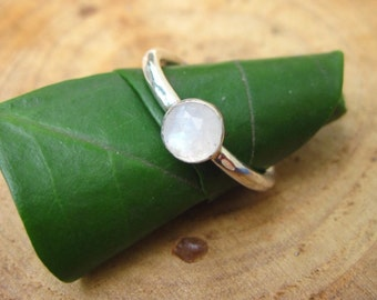 Handmade Rainbow Moonstone 6mm Sterling Silver Stacking Ring
