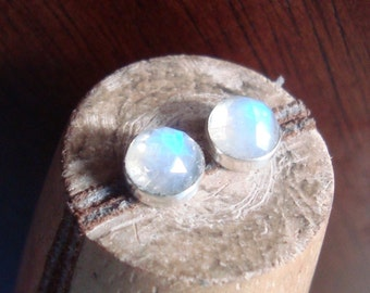 Faceted Rainbow Moonstone Sterling Silver Studs Post Earrings 6mm READY TO SHIP