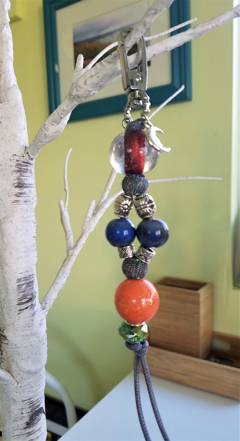 Handcrafted Key Chain with Cancer Sign and Moon Charms