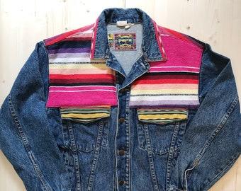 Southwestern Jacket Pepe Jeans Sz MEDIUM M Vintage 90s - 1990s Denim  Rainbow South Western 51d103ebe