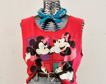 VINTAGE 90s - Minnie Mouse Cropped Tank Top L Large 1990s