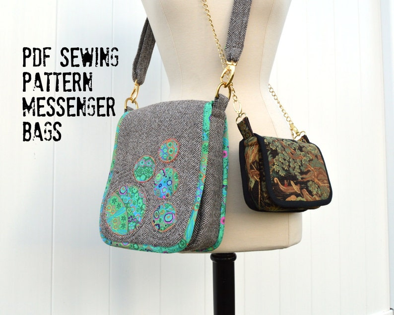 Messenger Bags Sewing Pattern including small saddle bag with image 0