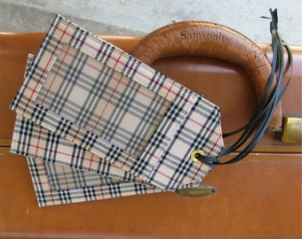 Plaid Fabric Luggage Tags Custom Made for You 15 pack