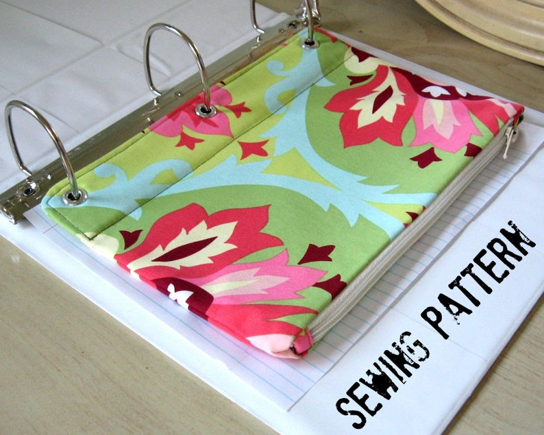 Zip Pouch for 3 ring binder PDF Sewing Pattern Instant image 0