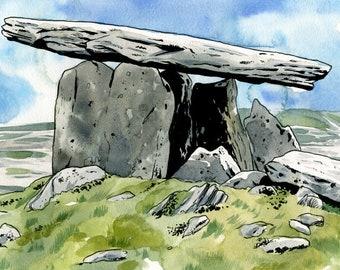 Poulnabrone Dolmen, The Burren, County Clare, Ireland: Archival 11x17 Limited Edition Art Print