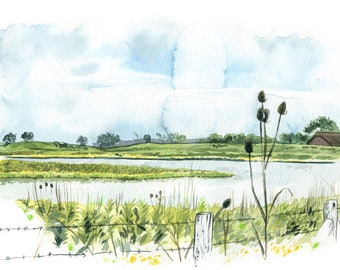 Tiengemeten Landscape, The Netherlands: Archival 11x17 Art Print of the painting of the remote island of Tiengemeten