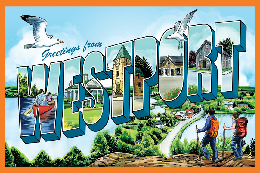 Westport Ontario Vintage-Postkarte-Stil 11 x 17