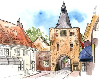 Elburg, The Netherlands: Archival 11x17 art print of a painting of Vischpoort gate in medieval Elburg