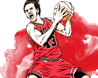 Joakim Noah Chicago Bulls Illustrated Print