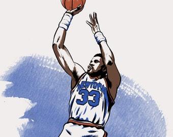 Patrick Ewing New York Knicks NBA Illustrated Print (Limited Edition)
