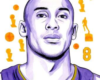 Kobe Bryant: Archival 11x17 Print, Basketball Artwork, Painting of NBA Los Angeles Lakers star