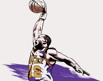 Basketball NBA Player Karl Malone of the Utah Jazz NBA Illustration Print