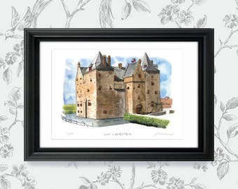 Slot Loevestein Castle, The Netherlands: Archival 11x17 art print of a painting of the medieval castle built in the 14th Century, Holland.