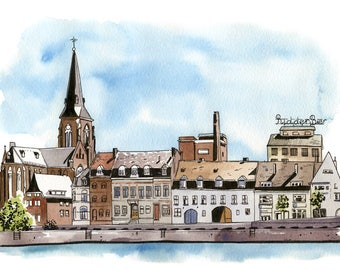 Maastricht, The Netherlands: Archival 11x17 art print of a landscape painting of Maastricht in the Netherlands
