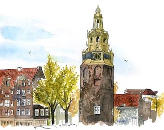 Amsterdam: Archival 11x17 art print of Montelbaanstoren Tower painting on the Oudeschans Canal, Netherlands