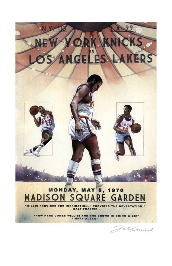 New York Knicks 1970 NBA-Meisterschaft-Malerei-Druck 11 x   Etsy