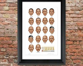 Michael Jordan Last Dance Chicago Bulls Career Portraits Timeline - Limited Edition Art Print by Joel Kimmel