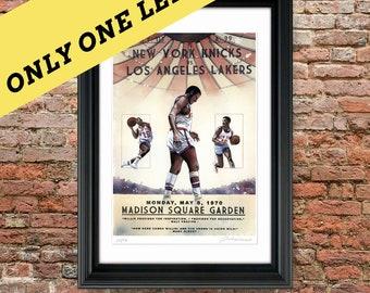 New York Knicks, 1970 NBA Championship Painting Print, 11x17, NBA, Willis Reed, Walt Frazier