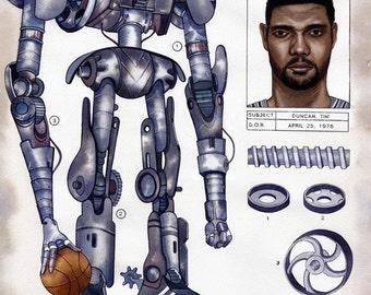 Tim Duncan San Antonio Spurs NBA Limited Edition Print