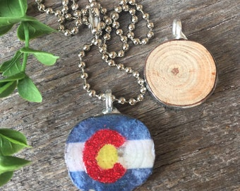 Colorado Flag Wood Pendant, Colorado Flag, Sparkle, Glitter, Glitter Flag, Branch Pendant, Stick Pendant, Soldered Jewelry, Ball Chain, Flag