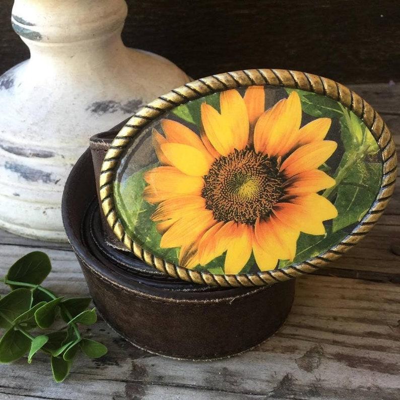 Sunflower Belt Buckle wDistressed Genuine Leather Belt Sunflower Buckle Belt Buckles Summer Sunflower Spring Kansas Flower Buckles