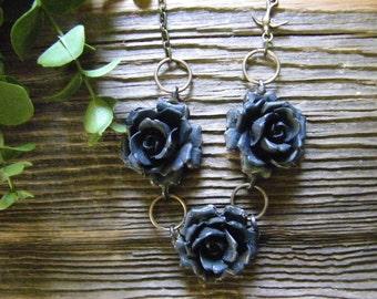 Triple Black Rose Necklace
