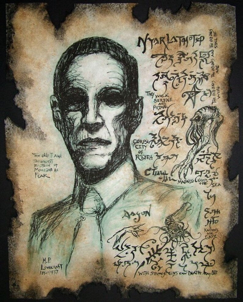 cthulhu HP Lovecraft portrait Necronomicon image 0