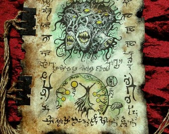 NECRONOMICON TOME FRAGMENT Yog Sothoth larp prop lovecraft monsters Cthulhu