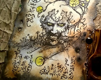 FUNGAL LIVING DEAD cthulhu larp Necronomicon page dark witchcraft magick
