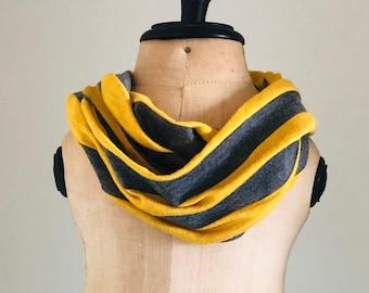 Jersey Knit Scarf - Knit Infinity Scarf - Toddler Girls Scarf - Baby Circle Scarf - Jersey Circle Scarf - Girls Striped Scarf