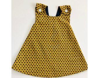 Pinafore Jumper Dress - Denim Dress - Baby Girl Dress - Girls Reversible Dress - Toddler Dress - Baby Shower Gift - Baby Apron Dress