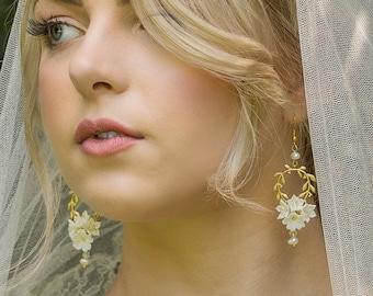 Bridal flower earrings -VERA - gold chandelier earrings