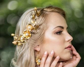 Bridal flower large hair comb - ELLIE -  gold