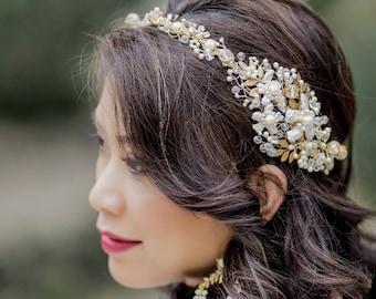Wedding tiara full crown Grecian asymmetric headband  Bridal floral crown MARINA, crystals, pearls , gold brass leaves