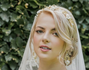 Bridal floral tiara - NICOLE - white and gold - wedding crown, floral wedding crown