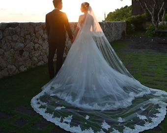 Wedding Veil  CHELSEA, Cathedral veil, Two Tier Veil , Bridal Veil, Alencon lace , Lace veil, made to order