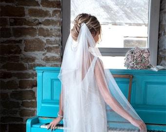 Reserved for Janine- Ivory drape tulle veil JANE - two tiers, chapel length veil plain